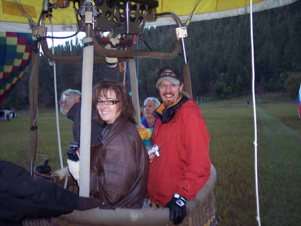 Balloon pilot Heather Day and passenger James Loverich is ready to launch from the Stratobowl
